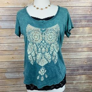 Miss Me Sz S Distressed Green Tee w/Owl Graphic